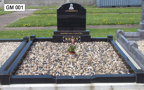 Gavins Memorials, Ballyhaunis, Co Mayo, Ireland.  Black Scroll - GM 001