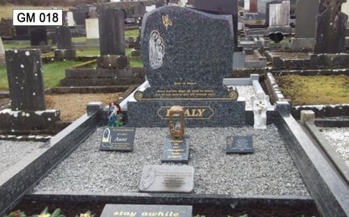 Gavins Memorials, Ballyhaunis, Co Mayo, Ireland.  Blue Pearl WJM - GM 018