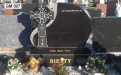 Gavins Memorials, Ballyhaunis, Co Mayo, Ireland.  Celtic Cross on side of Black Headstone 2 - GM 007